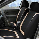 Full Set Car Seat Cover Polyester For Auto Truck SUV 5 Heads Beige&Black