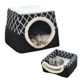 2 in1 Faltbar Warm Pet Puppy House Haustier Matte Hund Katze Bed Cave Schlafmatte