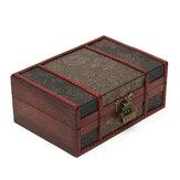 Vintage houten sieraden opbergdoos Desktopboeken Bestanden Document Organizer Boekenkast Handgemaakte decoratieve sieraden Treasure Lock-borst