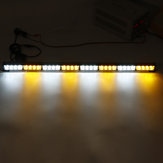 35Inch 32 LED Warning Strobe Light Traffic Advisor Emergency Hazard Bar Amber+White
