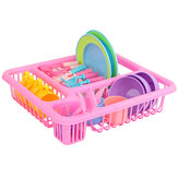 21PCS Kids Pretend Play Dishes Kitchen Playset Wash & Dry Tableware Rack Toys