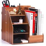 Ofis Malzemeleri Masaüstü Saklama Sepetleri Kutu Çekmece Ahşap Kitap Standı Yaratıcı Kitaplık Dosya Bilgileri Kırtasiye Raf