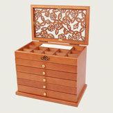 5 camadas de jóias de madeira Caixa armazenamento Caixa organizador de jóias de colar de mesa