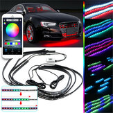 90x120cm 15W APP bluetooth 126LED RGB Under Coche Tubo Underglow body Strip Light Kit Control inalámbrico DC12V