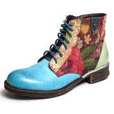 Zíper de emenda de flor aquarela atam as botas de tornozelo