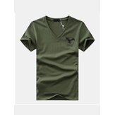 Mens Summer Breathable Short Sleeve V Neck Casual Tops