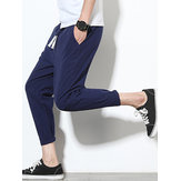 Mens Cotton Linen Thin Slim Fit Plain Straight Pants