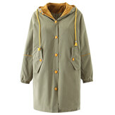Women Winter Button Windbreaker Warm Hooded Coats