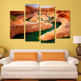 Miico Hand Painted Four Combination Decorative Paintings Canyon River Wall Art For Home Decoration