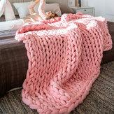 180x120 cm Sıcak El Tıknaz Örme Battaniye Kalın İplik Yün Çekyat