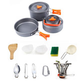 2-3 People Camping Picnic Set Portable Folding Stove Teapot Pot Tableware Outdoor Cooker Set Cooking Utensils