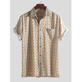 الرجالنمطالعرقيةطباعةخمرالجيب عطلة قميص القمصان