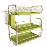 3 Tiers Kitchen Storage Dish Drainer Rack Cutlery Drying Holder Drainer Tray