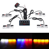 16W 4-in-1 16 LED Strobe Lights Bumper Grille Warning Lamp with Controller Mode Switch