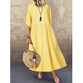 Mulheres Casual Loose Plaid Print O-Neck Half Sleeve Dress
