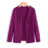 Women Long Sleeve Button Solid Color Knit Sweaters
