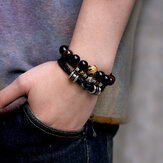 12 Constellation Cowhide Leather Rope Woven Bracelet