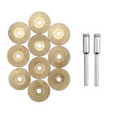 Drillpro 10pcs Diamond Grinding Wheel Metal Cutting Disc for Rotary Tool with 2 Mandrel