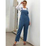 Plus Size Women Adjustable Denim Basic Casual Jumpsuit