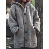 Solid Color Hooded Button Thicken Knit Coats with Pockets
