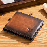 BULLCAPTAIN Men Echtleder-Winzer RFID Blocking Anti-Theft Wallet