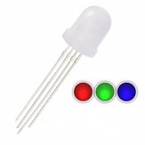 50PCS 10mm Frosted RGB Common Cathode Diffused Tricolor 20mA 2V Wide Angle 4Pin Round LED Diode Bulb
