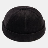 Mens Black Corduroy Adjustable Solid French Brimless Hats Retro Skullcap Sailor Cap