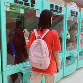 Women Girl Fasihon Nylon Solid Color Backpack