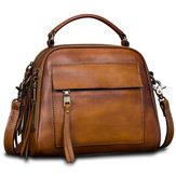 Brenice Vintage Solid Genuine Leather Handbag Crossbody Bag