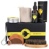 6Pcs/set Men Beard Oil Balm Moustache Cream Wax Comb Brush Scissor Jute Pouch