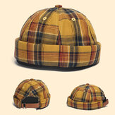 Udlejer Cap Dome Cap Innocent Plaid Sailor Cap Street Trends Melon Stripe Brimless Hats Skull Cap