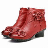 Women Vintage Handmade Flower Leather Ankle Boots