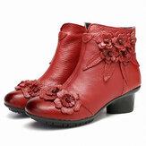 Kadın Vintage Hakiki Deri El Yapımı Çiçek Düşük Topuk Ayak Bileği Kısa Botlar