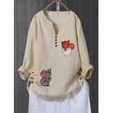 Frauen Langarm Katze und Mouse Print Button Herbst Shirts