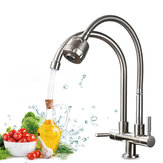 Stainless Steel Double Hole Faucet Wash Basin Swivel Water Taps Mixer Tap