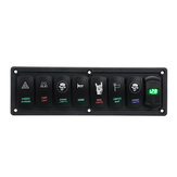 12V-24V 3.1A 8 Gang Rocker Switch Panel Dual USB Circuit Breaker LED Voltmeter For Car Marine Boat