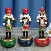 32 CM Drewniana Straż Dziadek do Orzechów Żołnierz Zabawka Pozytywka Ozdoby Świąteczne Prezent na Boże Narodzenie