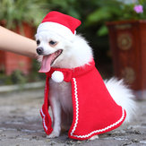 Pet Christmas Dress Pet Dog Cat Winter Warm Hat Mantel Kostuum Set Kleding Kerstversiering voor thuis Santa Claus Pet Vest