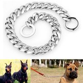 13mm Perak Cut Curb Kuba Link Stainless Steel Dog Rantai Pet Collar