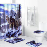 1/3/4 Pcs Snow Wolf Waterproof Shower Curtain Bathroom Toilet Cover Mat Set Non-Slip Pedestal Rug Kit
