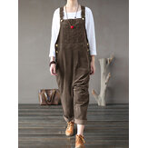 Corduroy Sleeveless Loose Button Causal Side Pocket Jumpsuit For Women
