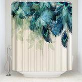 180X180 CM Suluboya Dekor Duş Perdesi Tavuskuşu Tüyü Desen Su Geçirmez Polyester Kumaş Banyo Duş Perdeleri