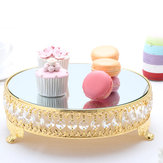 Moderne Cake Dessert Stand Ronde Display Glasspiegel Goud Kristal Bruiloft Decor Levert