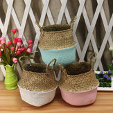 5PCS Mat Grass Belly Basket Storage Plant Pot Foldable Laundry Bag Room Decorative Flower Pot
