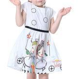 Robe imprimée de personnages de bande dessinée à manches courtes Kid Girls