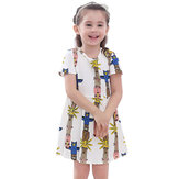 Kid Girls Korte Mouw Cartoon Pattern Gedrukte Jurk