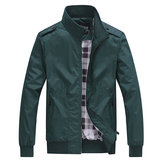 Casual Business Pure Color Cremallera Stand Collar Men Jacket