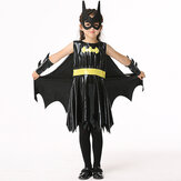 Halloween Kid Girls Black Sleeveless Bat Cosplay Kostuum