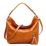 Oil Leather Tassel Women Tote Bag Casual Retro Hobos Bag