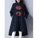 Etniczne damskie z długim rękawem haftowane żakardowe Hem Trench Coat